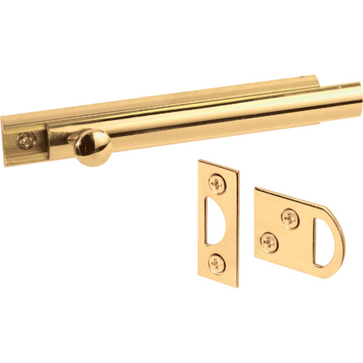 Defender Security 4 In. Brass Surface Bolt
