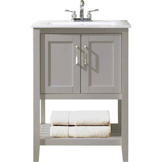 Design House Valerie Dove Gray 24 In. W x 34 In. H x 18 In. D Vanity with White Porcelain Top