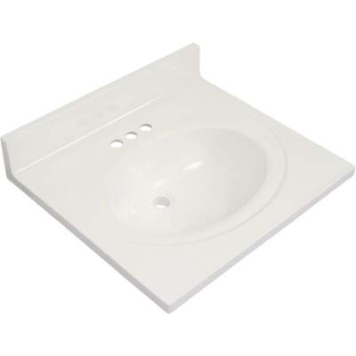 Modular Vanity Tops 25 In. W x 22 In. D Solid White Cultured Marble Flat Edge Vanity Top with Oval Bowl