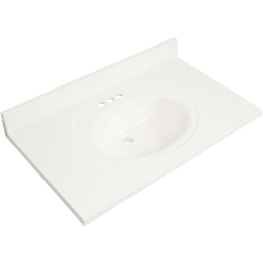 Modular Vanity Tops 37 In. W x 22 In. D Solid White Cultured Marble Flat Edge Vanity Top with Oval Bowl
