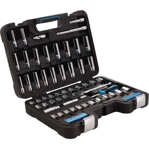 Channellock Standard/Metric 3/8 In. Drive 6-Point Combination Ratchet & Socket Set (76-Piece)
