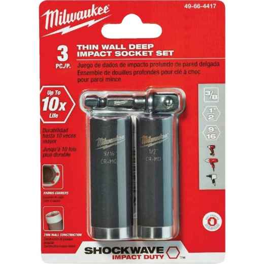 Milwaukee Shockwave Standard 3/8 In. Adapter, 1/2 In. & 9/16 In. Drive 6-Point Thin Wall Deep Impact Driver Set (3-Piece)