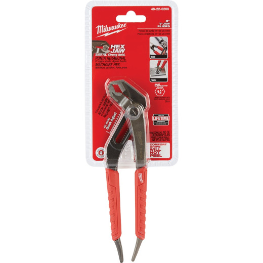Milwaukee 8 In. Comfort Grip V-Jaw Groove Joint Pliers