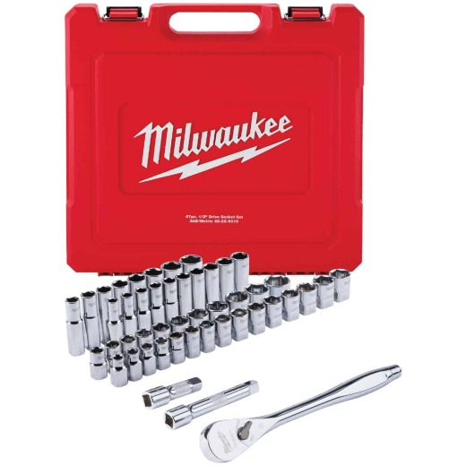 Milwaukee Standard/Metric 1/2 In. Drive 6-Point Ratchet & Socket Set (47-Piece)