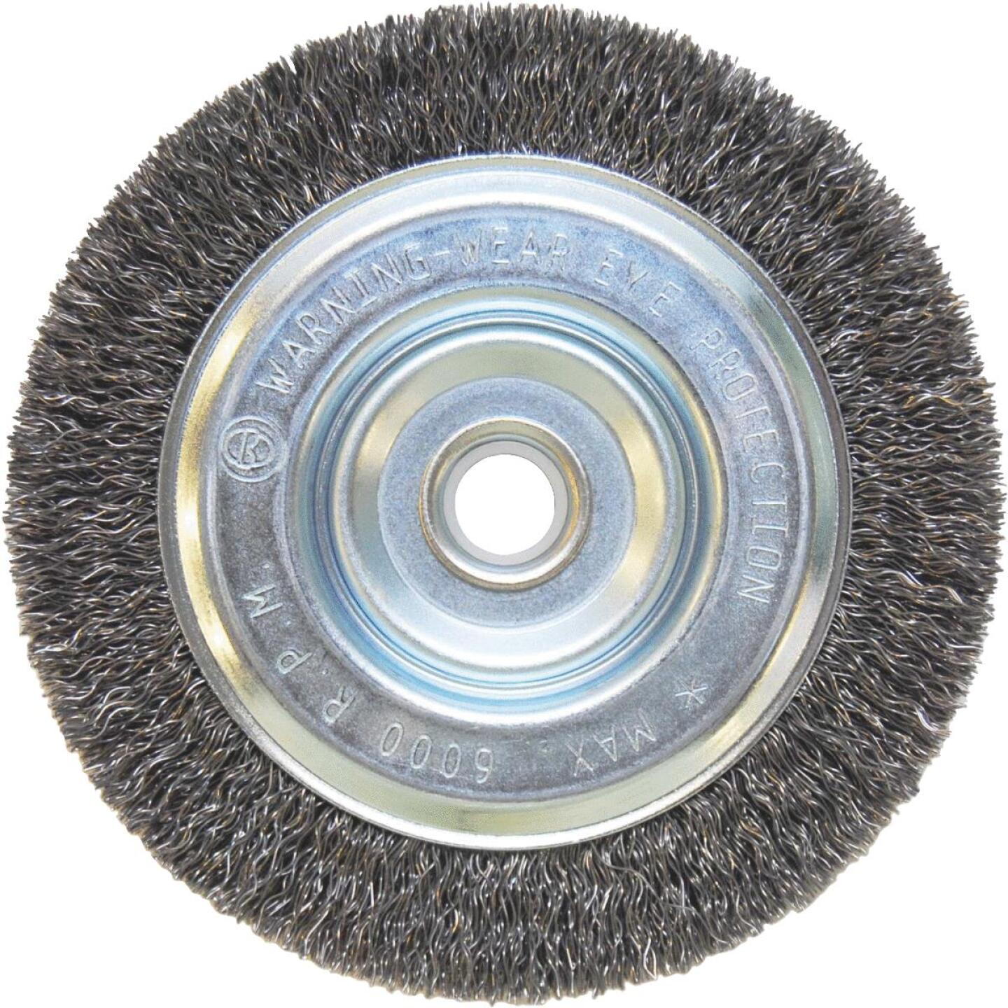 Weiler Vortec 5 In. Crimped, Coarse Bench Grinder Wire Wheel Image 1