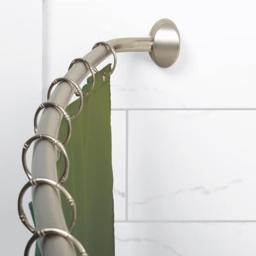 Zenith Curved 60 In. To 72 In. Adjustable Fixed Shower Rod in Brushed Nickel