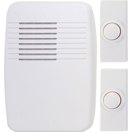Heath Zenith Plug-In & Battery Operated White Wireless Door Chime Kit