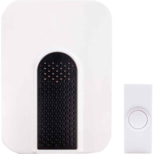 Heath Zenith Battery Operated White with Black accent Wireless Door Chime