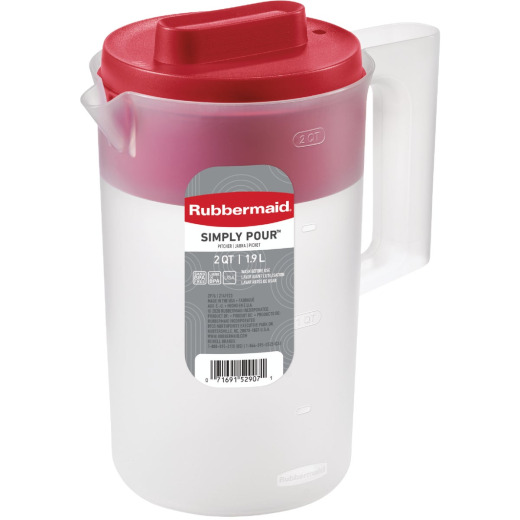Rubbermaid Frosted Plastic Pitcher with Red Lid, 2.25 Qt.
