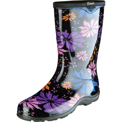 Sloggers Women's Size 7 Black w/Flowers Rain & Garden Rubber Boot